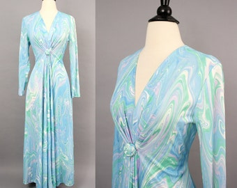 vintage 60s 70s Psychedelic Paint Swirl Mod Aqua Evening Gown / 1970s Gathered Long Sleeve Blue Green Lavender Maxi Hostess Dress / Medium