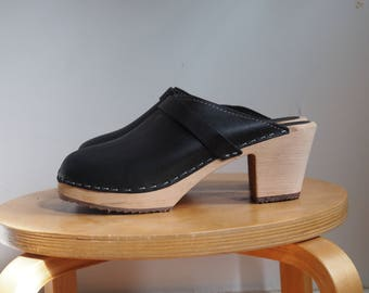 NWoT Deadstock Never Worn Lotta's from Stockholm Swedish Wood and Black Leather High Heel Clogs 39 8.5