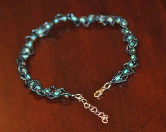 Hand beaded Steampunk Anklet - Dark Blue and Light Blue Seed Bead Anklet - Funky Anklet