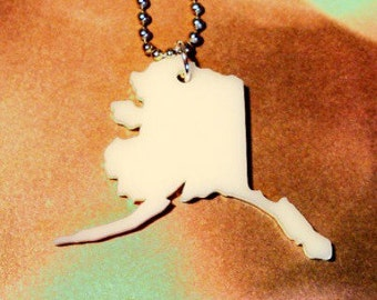 Alaska Acrylic Necklace, State Jewelry in Cream