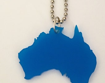 Australia Necklace, Medium Blue Color Lasercut Acrylic, Gift for Her