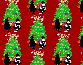 Christmas Newfy Dog Fabric