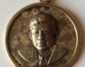 SALE John F. Kennedy Charm/Pendant Gold Wash Sterling