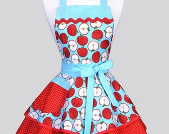 Ruffled Retro Womans Apron - Red and Aqua Farmers Market Apples Vintage Style Full Kitchen Apron with Pockets to Personalize or Monogram