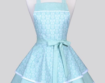 Ruffled Retro Womans Apron - Romantic Aqua Blue and White Damask Vintage Style Bridal Wedding Apron with Pockets to Personalize or Monogram
