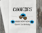 HOLIDAY SALE 10 PAK Cookie Buffet Party Favor Bags / Blue Monster Theme / Cookie Bar Bag / Kids Birthday / Personalized 3 Day Ship
