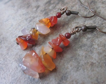 Carnelian Gemstone Earrings, Natural Smooth Gemstone Chips, Bright Orange, Sacral Chakra, OOAK, Antiqued Copper, Canadian Seller, Autumn