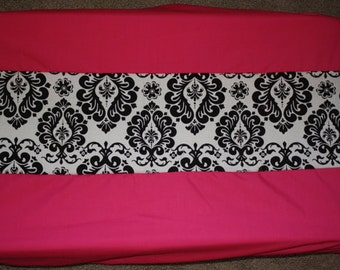 Hot pink damask changing pad cover