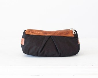 Black Cosmetic bag with brown leather, toiletry storage case makeup accessory pencil case pouch zipper case - Estia Bag