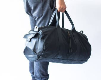 Black mens duffle bag, travel bag mens gym bag duffel bag mens carry on bag weekender bag crossbody bag - Nestor duffel bag