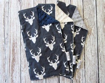 3 Deer Baby Burp Cloths with Minky Backs, Buck Forest Twilight Woodland Baby Burp Cloths, Navy Blue Deer Burp Cloths