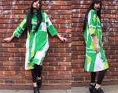 Vintage Catherine Ogust 70's Green Abstract Print Shift Dress