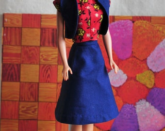 Barbie red and blue, cute vest, skirt, and roses top outfit, vintage 60s handmade