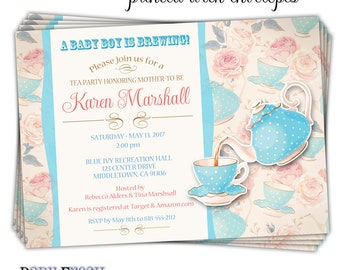 Baby Shower Tea Party Invitation • Baby Shower Tea Cup Invitation • Sip and See Invitation • Sip & See Invitation • PRINTED on CARDSTOCK