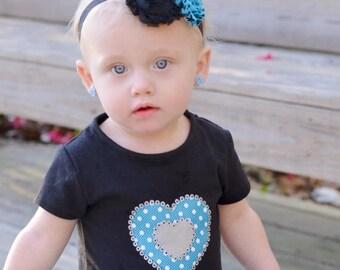 30% OFF SPRING SALE Turquoise Flower Headband, Damask, Newborn Headband , Baby Headband, Infant Headband, Flower Girl, Baby Shower Gift, Bir