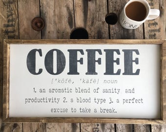 coffee sign | funny coffee quote | coffee definition | coffee decor | farmhouse sign | wood sign | kitchen sign
