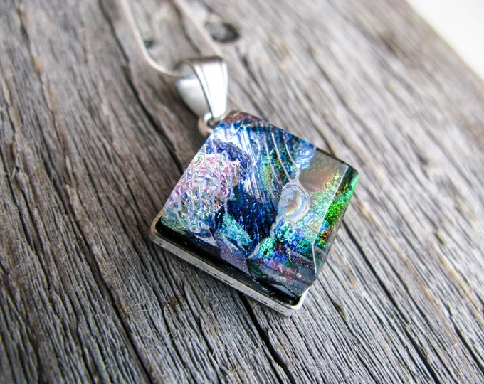 outer space jewelry, coworker gift, pendant necklace, dichroic glass, fused glass pendant, glass pendant nebula, colourful jewelry