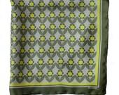Silk Pocket Square / Lemon Daisies Silk Pocket Square / Yellow Silk Pocket Square / Green Silk Pocket Square / Daisy Silk Neckerchief