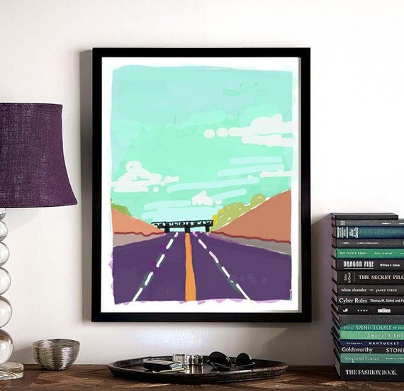 Modern Art, Roadtrip Abstract Freeway Art, digital download, download, overpass, vibrant digital sketch, living room wall art, office art
