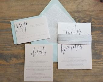 Silver Wedding Invitation, Silver Glitter Wedding Invites, 1920s Wedding Invite, Sparkle Wedding Invite, Glam Wedding Invitations, aqua