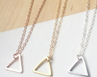 Triangle Charm Necklace | Dainty Charm Necklace | Rose Gold Filled | Gold Filled | Sterling Silver