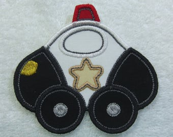 Police Car Fabric Embroidered Iron on Applique Patch Ready to Ship