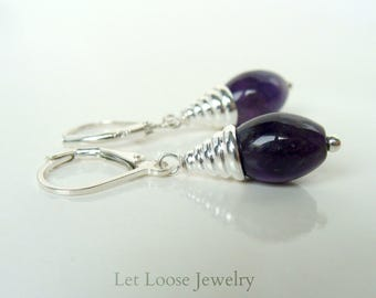 Amethyst earrings, sterling silver, leverbacks, genuine gemstones, dark purple, handmade, Let Loose Jewelry, under 50, February birthstone