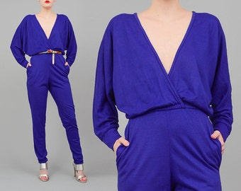 ON SALE Vintage 80s Jumpsuit Purple Plunging Neckline High Waist Catsuit Skinny Leg Vintage 1980s Romper Small XS S