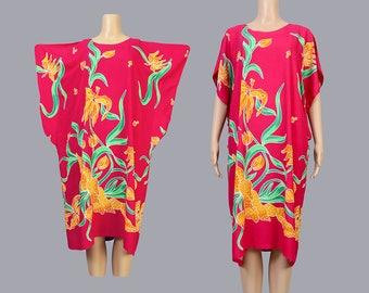 Vintage 90s Tropical Floral Dress | Batwing Sleeve Dress | Draped Tent Dress | Thailand Midi Dress | Raspberry Magenta Pink | FREE SIZE
