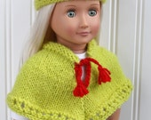 Ready to Ship.  Handknit 18-inch doll poncho and hat, lime green wool with red accent, fits dolls like American Girl