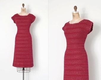 vintage 1950s knit dress / burgundy knit 50s dress / wiggle dress