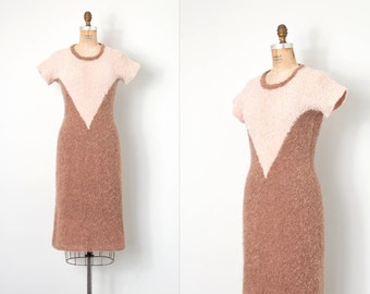 vintage 1950s knit dress / wool boucle 50s dress / Rose Cocoa