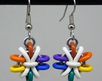 Rainbow Anemone Earring, fun and funky drop earring, chainmaille earring, rainbow earring