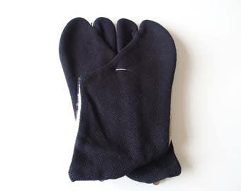 Black Tabi Japanese Split Toe Socks Vintage Traditional