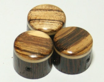 Set of 3 Wenge Guitar Knobs with Zebrawood Cap (3/4 dia x 11/16 height)