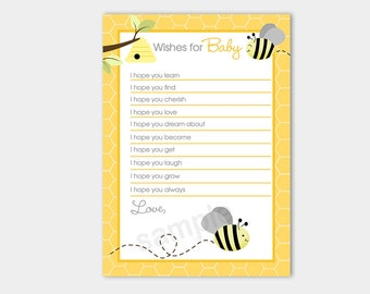 Bumble Bee Gray wings Gender Neutral Wishes for Baby Shower Advice Card, Printable JPG INSTANT DOWNLOAD bs-157