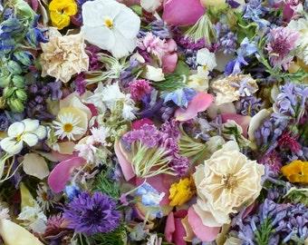 Flower Confetti, Real Dry Flowers, Wedding, Decoration, Craft Supply, Aisle Decor,  Wedding Decoration, Flower Girl, 10 US cups of Confetti