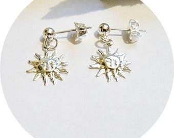 Sun Earrings, Tiny Earrings,  Small Sun Face Earrings, Silver Sun Earrings, Beach Wedding Jewelry, Kids Jewelry, Kids Earrings