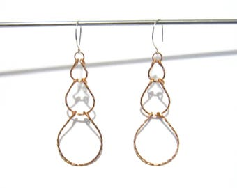 Teardrop Tiered Earrings in Twisted Copper, Round Hooks, Made to Order, Mothers Day Gift under 20, Lightweight, Fashion Accessory