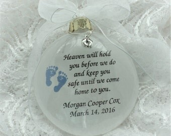 Baby Boy Miscarriage Ornament with Blue Foot Print Personalized with Baby Feet Charm