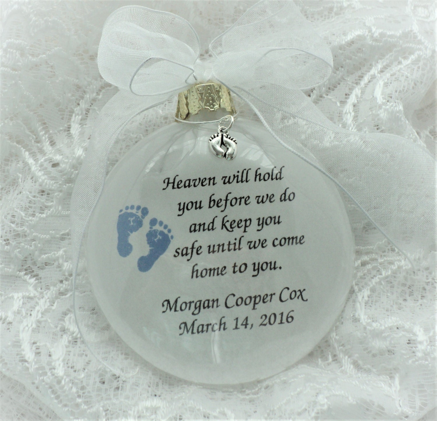 Personalized wedding christmas ornament - Baby Boy Miscarriage Ornament With Blue Foot Print Personalized With Baby Feet Charm