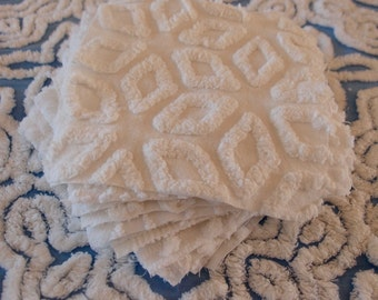 "Vintage Chenille Fabric Quilt Squares - 15 - 6"" squares in WHITE, all different patterns - 500-103"