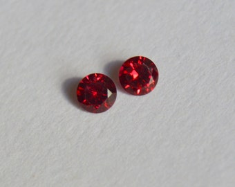 Burmese Spinel, Round Burmese Spinel, Burmese Spinel Pair, Red Spinel, Red Spinel Pair, Untreated Spinel, 4mm Spinel