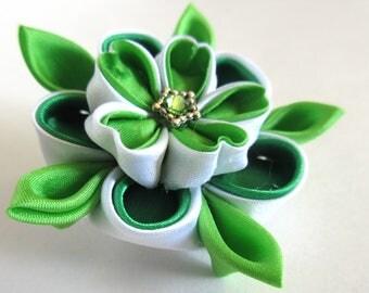 Green Layered Flower Brooch - 'Hanayo'