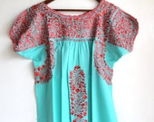 Coral peach embroidery on mint Mexican Wedding Dress