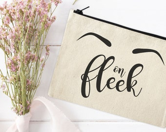 Canvas Makeup Pouch - Make Up Bag - Canvas pouch - Cosmetic pouch - Cosmetic Bag - Cosmetic Canvas Bag - Funny bag - Eyebrows on fleek
