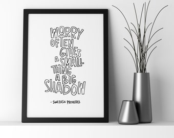 Worry / #peetysketches print (Black and white, 8 x 10)