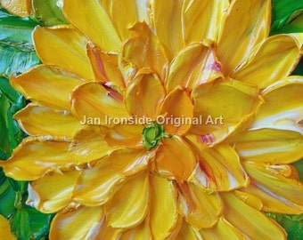 Flower Painting , Oil Painting ,  yellow Dailia , Impasto , Original Painting