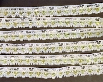 """3 Yards, 7/8"""" Wide, White With Gold Hearts Lace Ribbon, Craft And Sewing Supplies, Doll Lace, DIY Lace Trims, Card Making, Sewing Projects"""