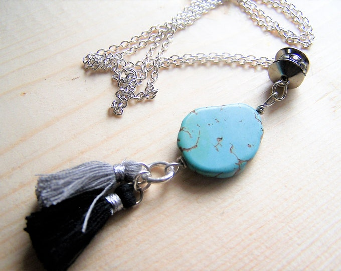 Boho tassel necklace, long boho necklace, bohemian pendant, gypsy necklace, turquoise pendant necklace, handmade boho turquoise necklace